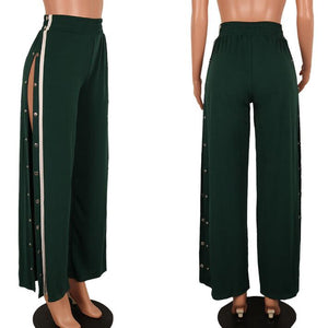 Split Side Buttons Wide Leg Jogger Casual Long Pants Summer Loose Striped Elastic Club High Waist Trousers