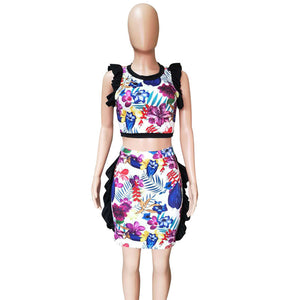 Two Piece Sets 2020 Summer Ruffle Crop Top Bodycon Mini Skirt Set Floral Print Sexy 2 Piece Set Women Matching Sets
