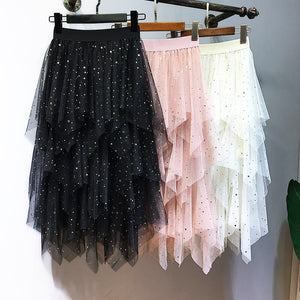 Yuppies Fashion High Waist Long Tulle Skirt Women Irregular Hem Mesh Tutu Skirt Spring Summer Party Skirts Faldas Saia Jupe