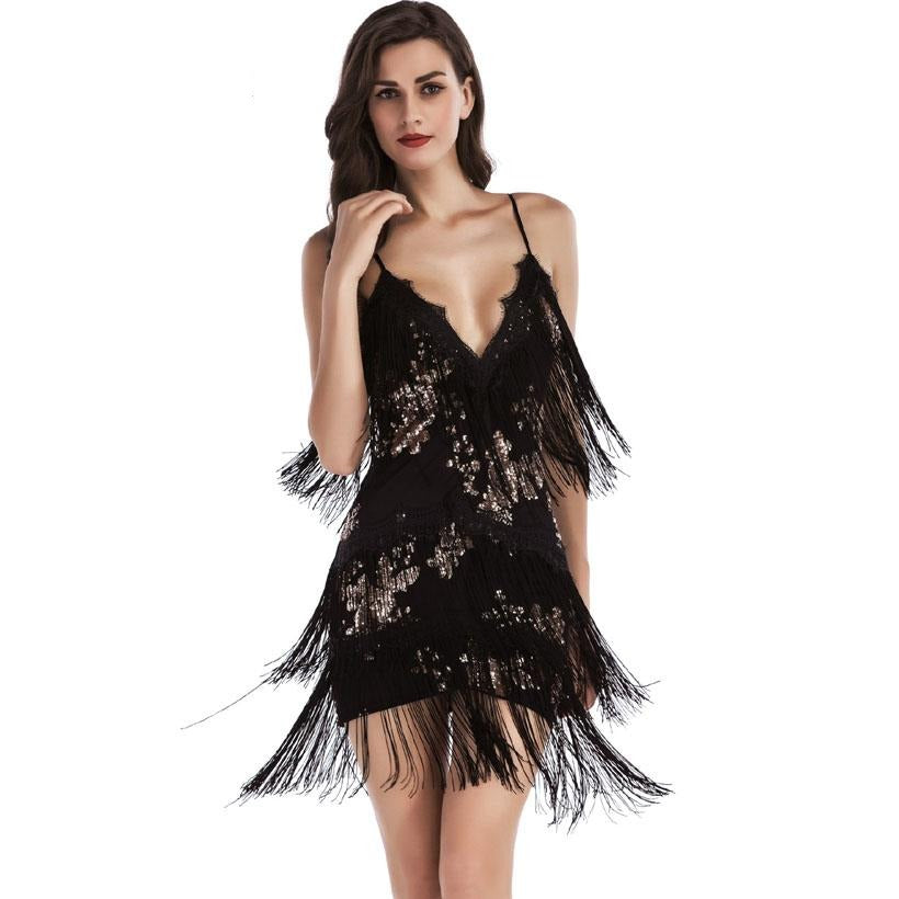 Woman Vestido De Festa Flapper Fringe 1920S Gold Vintage Great Gatsby Sequin Tassel Party Dress Women Summer Dress