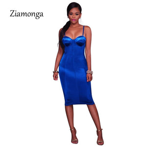 Women Bodycon Dress Summer Sleeveless Midi Party Dresses Fashion Style Push Up Padded Strapless Vestidos
