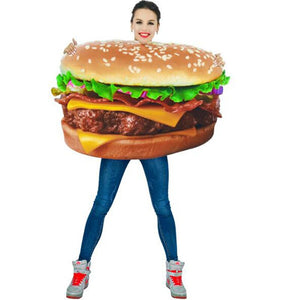 Adult Pizza Funny Dog Corn Hamburger Costume Party Role Play Outfits Women Men Halloween Cosplay Yummy Fast Food Costumes