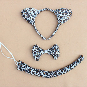 Children Adult Animal Ear Headband Tail Cat Monkey Minnie Mouse Rabbit Leopard Frog Fox Wolf Bear Leopard Tiger Party Headwear