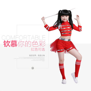 Children Red Hip Hop Costume Cheerleader Cheerleading Gymnastics Dress Jazz Dancer Clothes Costume Pants Stocking Kid