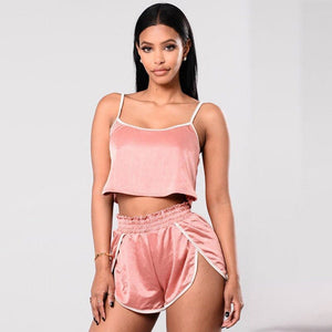 Women Summer Sexy Two Piece Set Crop Top Casual Outfit Shorts Sport Suit Tracksuit Clothes