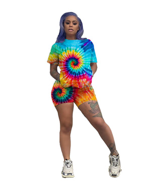 Women Summer Black Hole Tie Dye 3D Print Short Sleeve ONeck T Shirts Shorts Suit Two Piece Set Sporty Tracksuit Ly5047