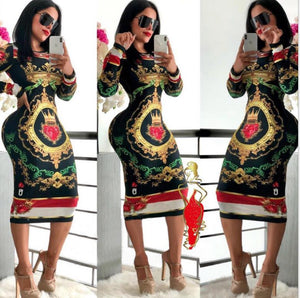 Women Autumn Long Sleeve ONeck Poker Vintage Midi Knee Length Dress Bodycon Night Club Party Bandage Dresses Y133