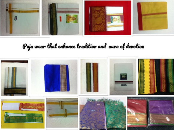 Shop for  traditional range of dhotis for puja  wear