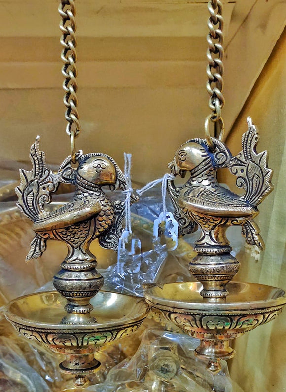 BRASS HANGING DEEPA PEACOCK DESIGN PAIR