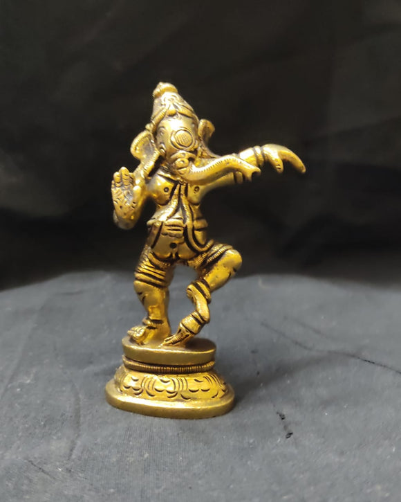 BRASS GANESHA DANCING POSE 3.5 X 1.5