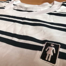 Load image into Gallery viewer, Girl Striped OG Emroidered Tee White Navy