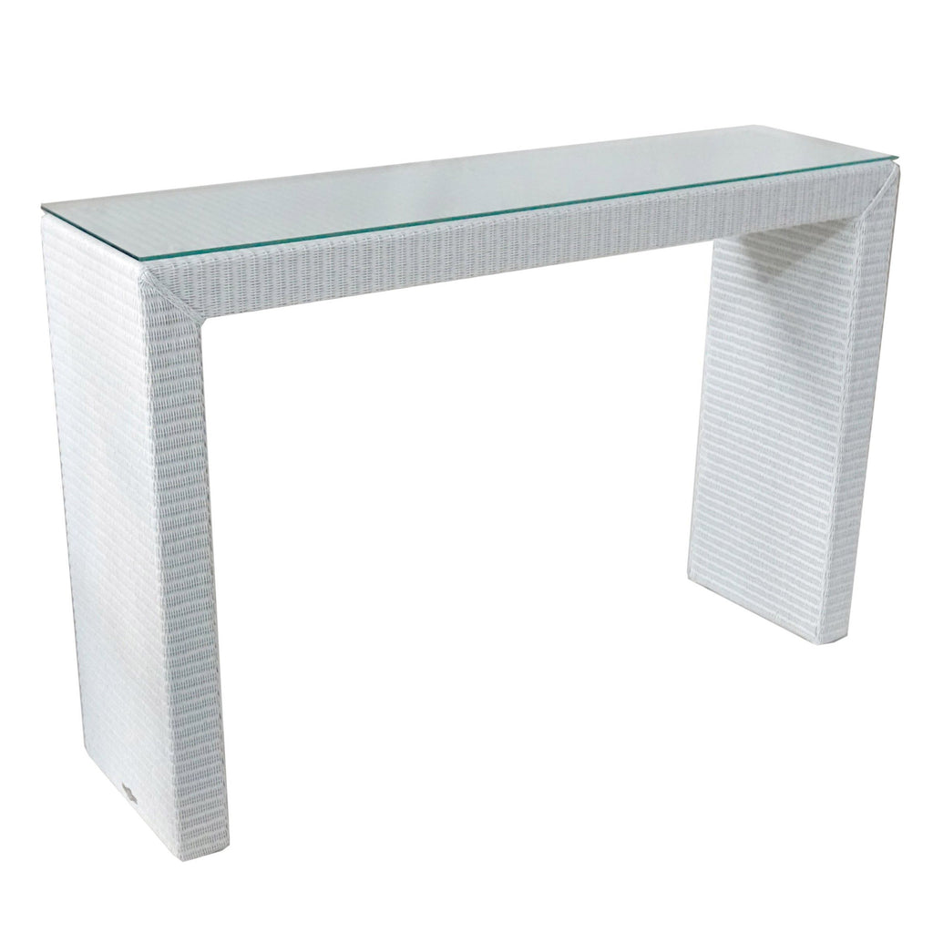 console Brooklyn in white Lloyds loom with glass top