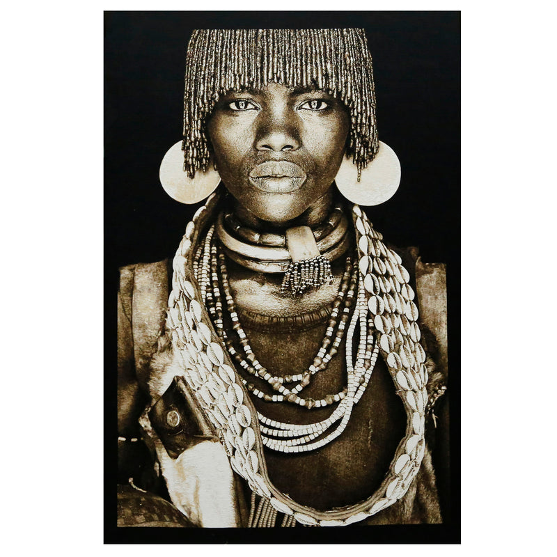 Hamar Woman Ethiopia in Black Background  Dimensions (cm) : W 140 X H 205  All designs are woven securing top quality over their lifetime.  Made in Belgium  Tapestries are sold in framed.