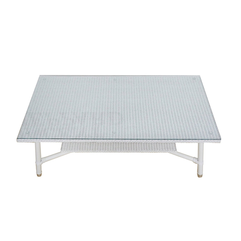 coffee table Jersey in white Lloyds loom with glass top