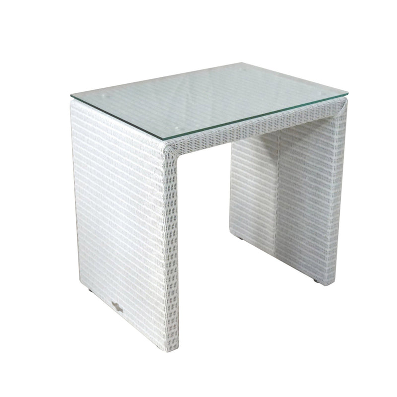 night table in white Lloyds loom with glass top