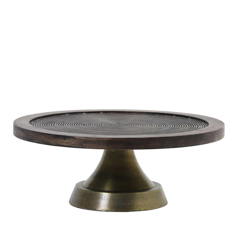Dish on Base Kamudi wood brown-antique bronze