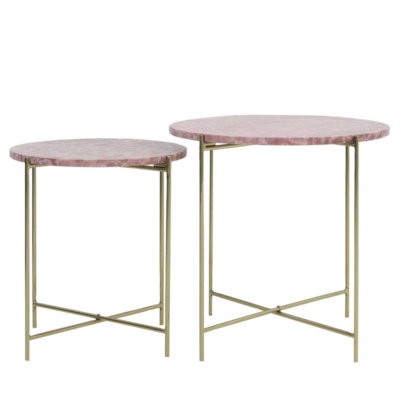 Side Table Set of 2 Delon marble