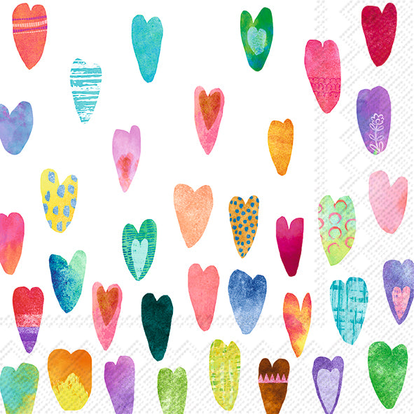 Cocktail Mix Napkin Rainbow Hearts