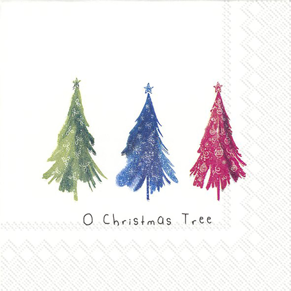 Cocktail Mix Napkin Colourful Christmas Trees