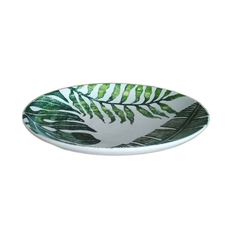Hand Painted Leaf Round Shallow Bowl