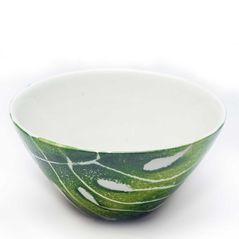Hand Painted Leaf Cereal Bowls - Assorted Set of 4