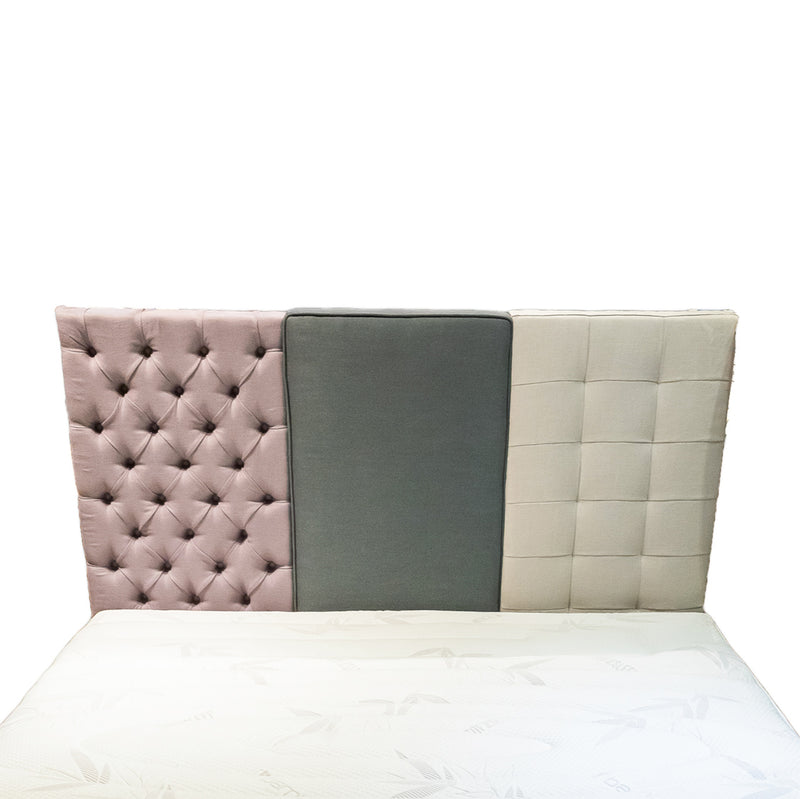 100% pure Belgian linen headboard made-to-order in 3 versions: tufted, plain and stitched