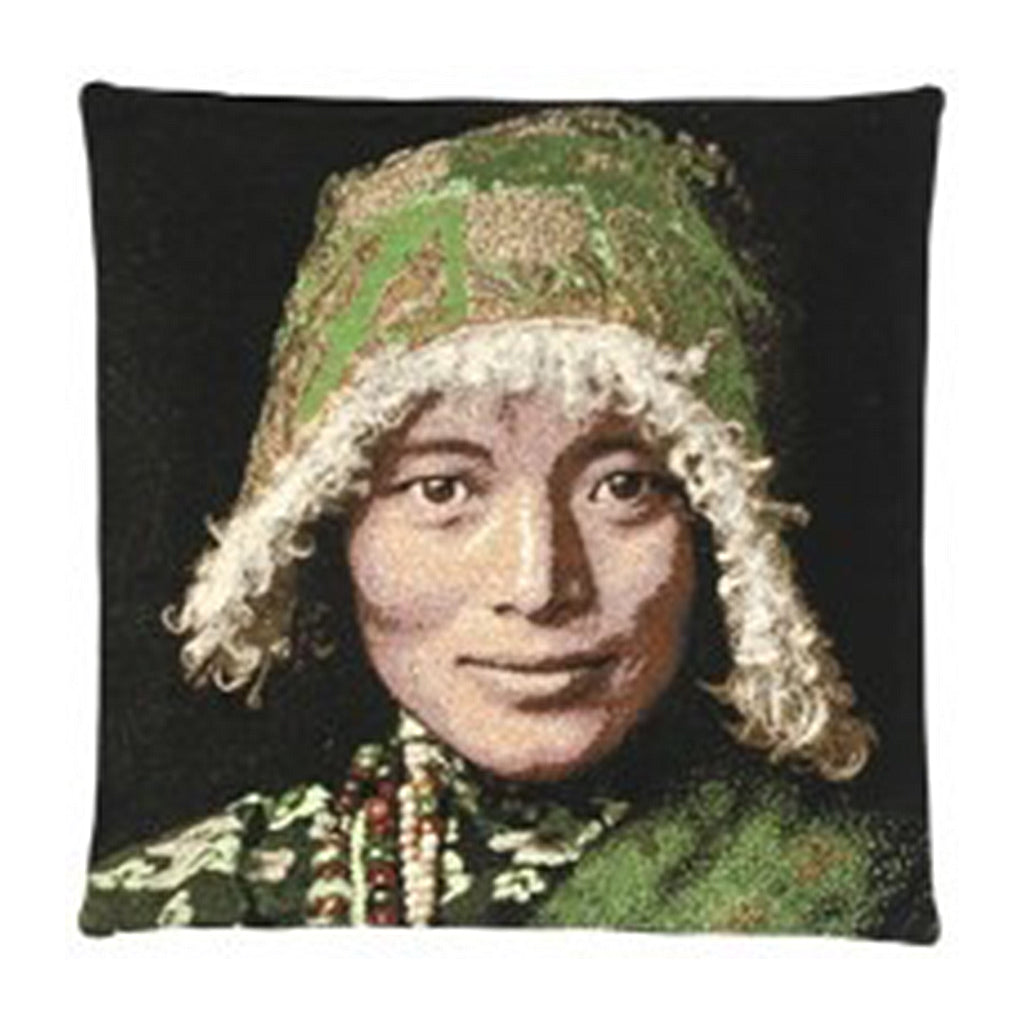 Tibetan Woman Cushion Cover  Dimensions (cm) : Width 45 x Length 45  Material : Belgium Linen  Colour :  - Green. All designs are woven securing top quality over their lifetime.  Made in Belgium.