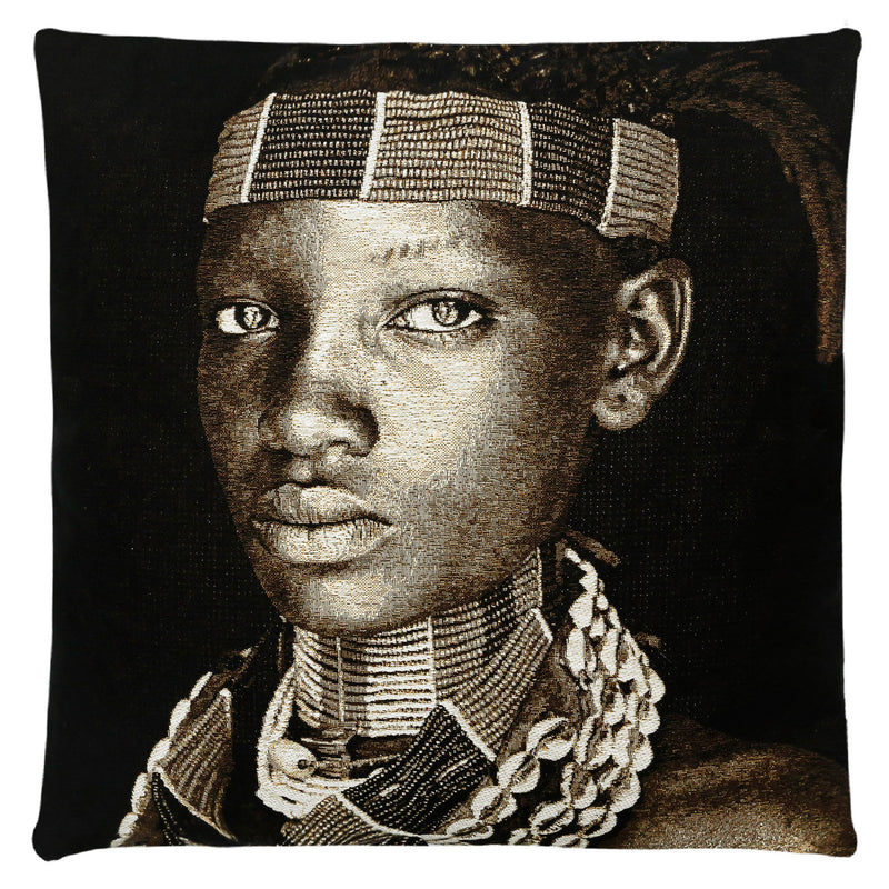 Hamar Lady Ethiopia Cushion Cover  Designer : Mario Gerth  Dimensions (cm) : Width 45 x Length 45  Material : Belgium Linen  All designs are woven securing top quality over their lifetime.  Made in Belgium.  Insert and filling not included.