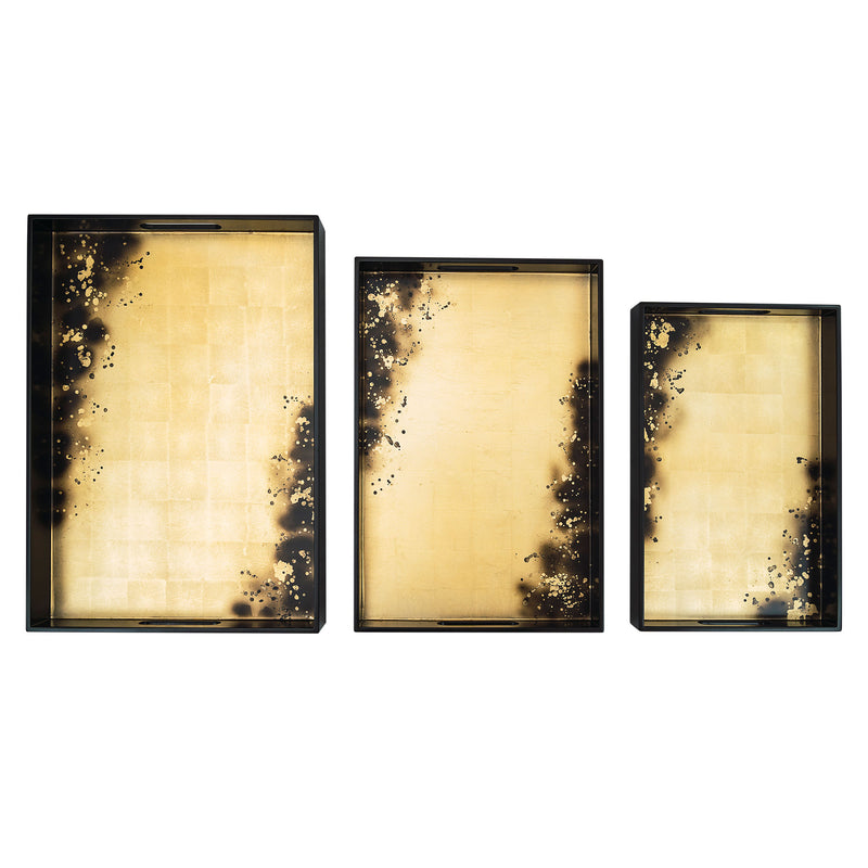 Rectangular Tray Black Gold Stains set of 3