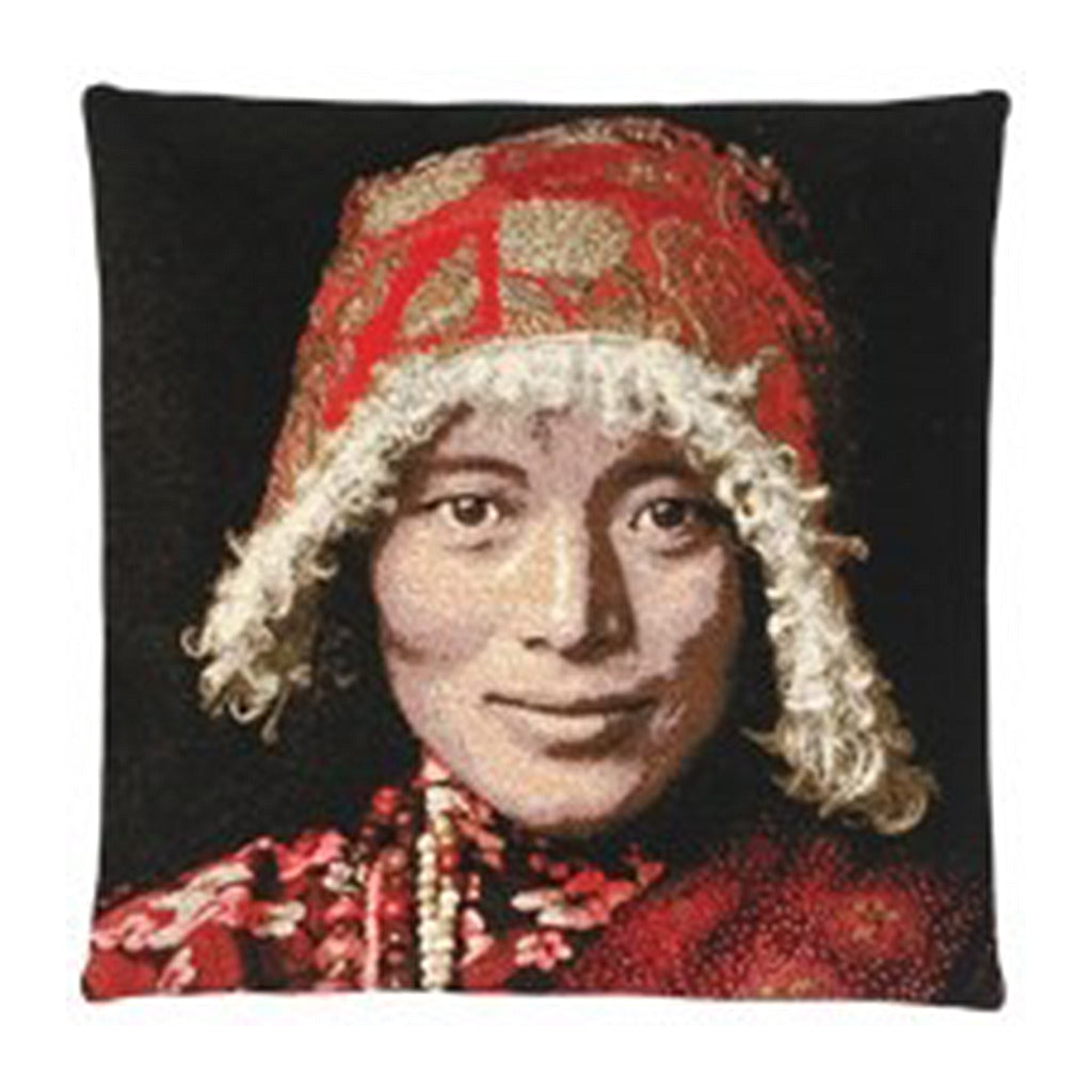 Tibetan Woman Cushion Cover  Dimensions (cm) : Width 45 x Length 45  Material : Belgium Linen  Colour : - Red All designs are woven securing top quality over their lifetime.  Made in Belgium.