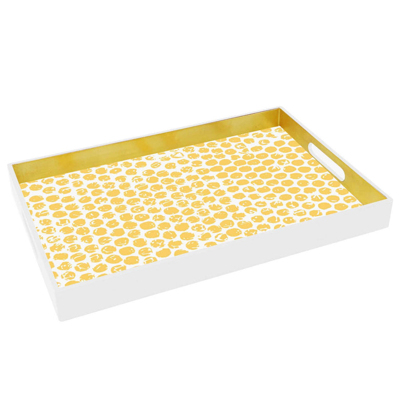 Rectanguler Gold Spot Insert Lacquare Tray- Set of 3