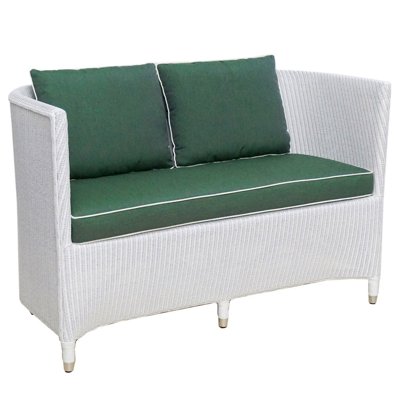 Tokyo 2 seater sofa in white Lloyds loom and green cushions