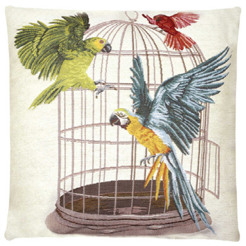 Caged Parroys White Cushion