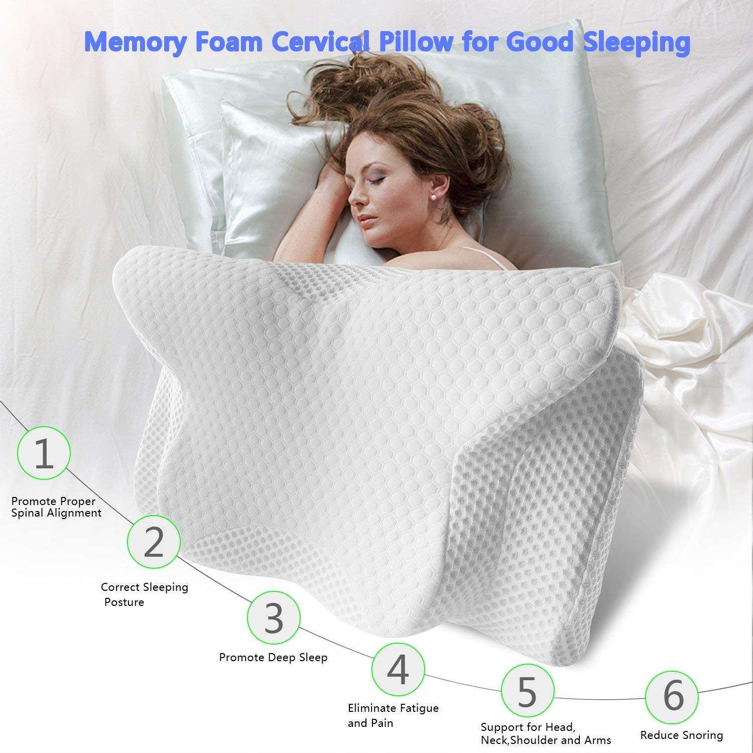 Orthopedic Contour Memory Foam Pillow for Neck Shoulders Pain Side Sleep Comfort