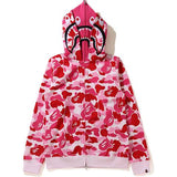 WIDE ABC CAMO SHARK FULL ZIP DOUBLE HOODIE PINK