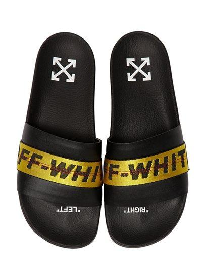 OFF WHITE LOGO LEATHER SLIDE SANDALS