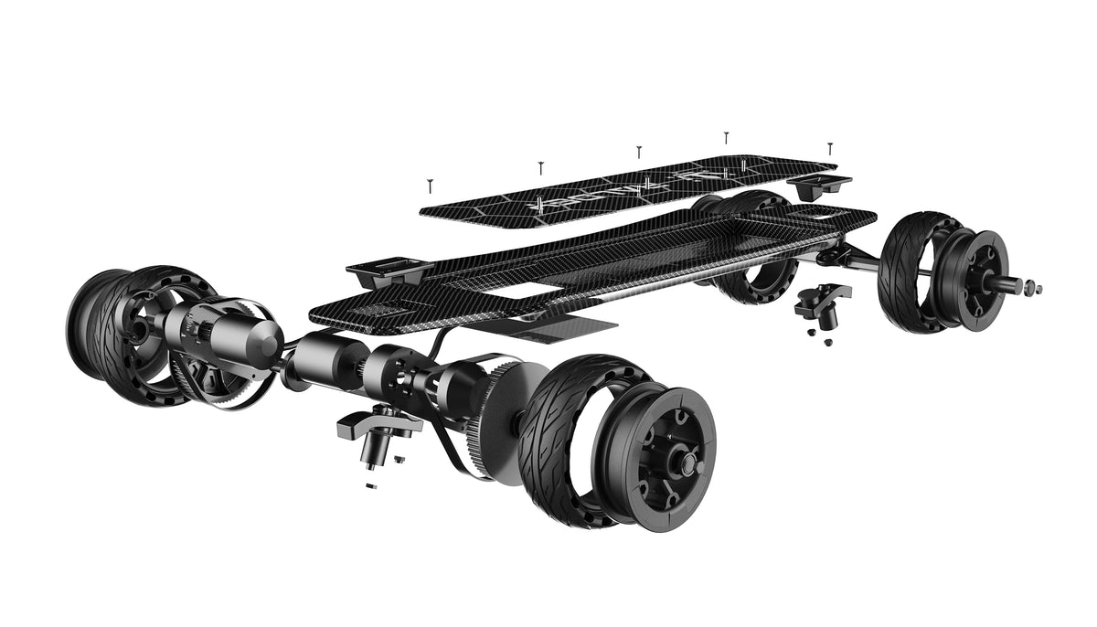 Exploded view of the Raldey Carbon AT Gen 2. Here you see every individual component that pieces together to make our electric skateboard.  The Deck is 100% Carbon Fiber, 165mm airless tires, dual 6368 1500w motors and a Samsung 35E 18650 10s4p Battery.