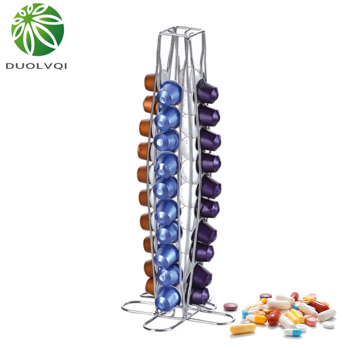 Duolvqi Coffee Pod Holder Dispenser Coffee Capsules Dispensing Tower Stand Fits For Nespresso Capsule Storage Coffee Holder