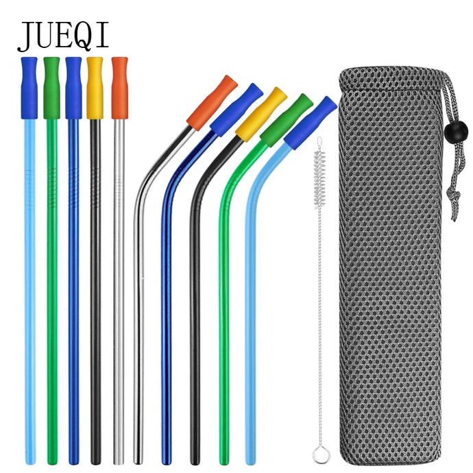 Reusable Metal Drinking Straws 304 Stainless Steel Sturdy Bent Straight Drinks Straw
