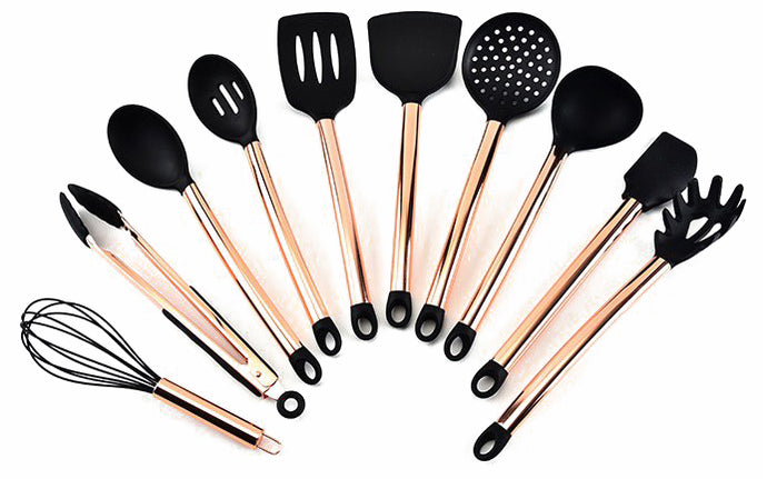 Rose Gold Silicone Cooking Utensil Set