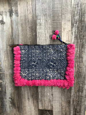 BOHO POM POM CLUTCH BAG