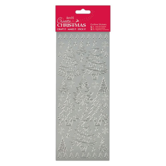 Stickers - Christmas Trees Silver