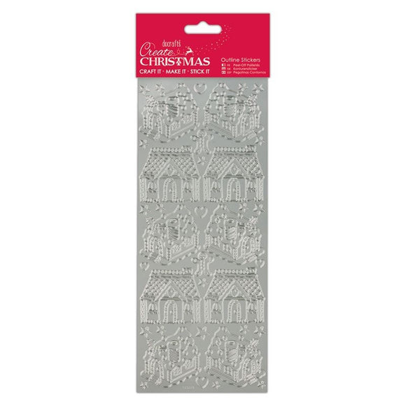 Stickers - Gingerbread Houses Silver