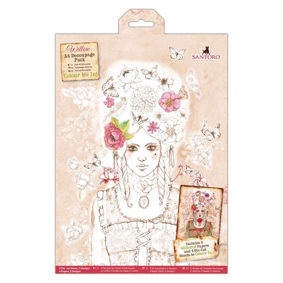Colour Me In A4 Decoupage Pack - Santoro Willow