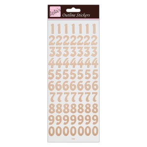 "Outline Stickers - Large Numbers ""Rose Gold on White"""