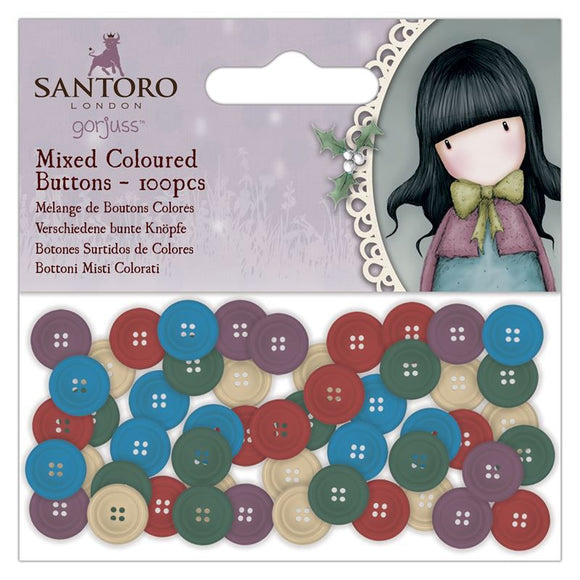 Coloured Mixed Buttons (100pcs) - Santoro Gorjuss