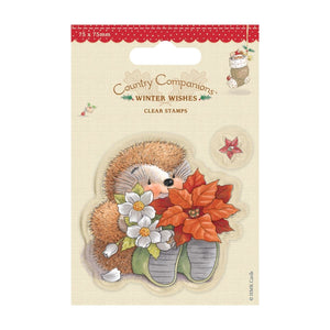 "$ Mini Clear Stamps - Winter Wishes ""Poinsettia"""