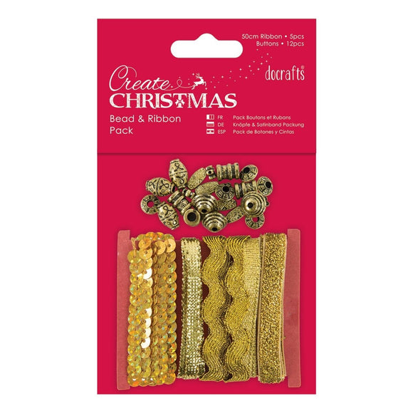 Bead and Ribbon Pack - Gold
