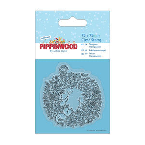 "FUORI TUTTO - Mini Clear Stamp - Pippinwood Christmas ""Wreath"""