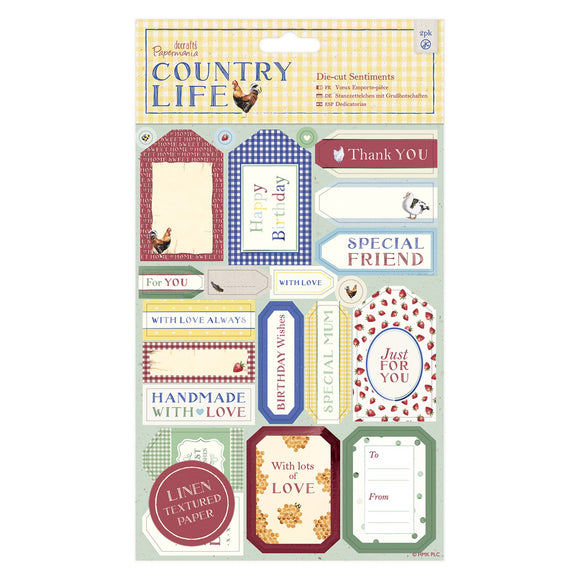 Die-cut Sentiments Linen (2pk) - Country Life